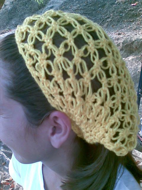 Gorro punto malla de crochet