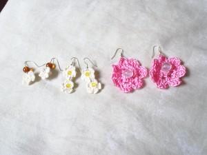 Aretes de flores a crochet