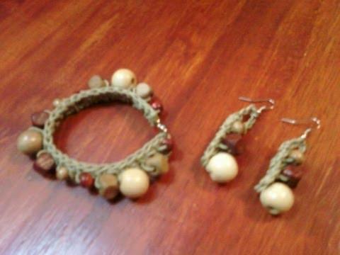 Pulseras y aretes tejidos a crochet